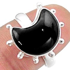 6.29cts solitaire natural black onyx 925 silver moon ring size 7.5 t47835