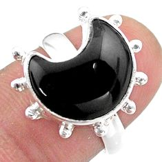 6.02cts solitaire natural black onyx 925 sterling silver moon ring size 7 t47852