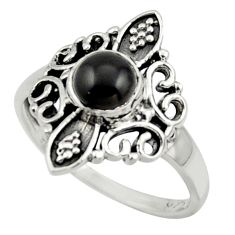 1.43cts solitaire natural black onyx 925 sterling silver ring size 7.5 r41950