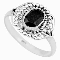 1.57cts solitaire natural black onyx 925 sterling silver ring size 7.5 r87359