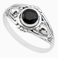 0.81cts solitaire natural black onyx 925 sterling silver ring size 6 r87285
