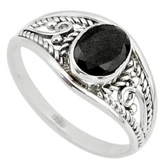 1.45cts natural black onyx 925 silver graduation handmade ring size 6 t9294