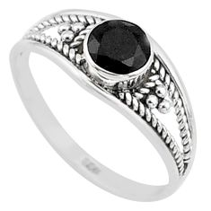 0.73cts natural black onyx 925 silver graduation handmade ring size 6 t9320