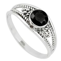 0.74cts natural black onyx 925 silver graduation handmade ring size 6 t9329