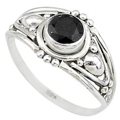 0.82cts natural black onyx 925 silver graduation handmade ring size 6 t9679