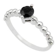 0.99cts solitaire natural black onyx 925 sterling silver ring size 7 r87199