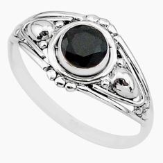 0.75cts solitaire natural black onyx 925 sterling silver ring size 7 r87278