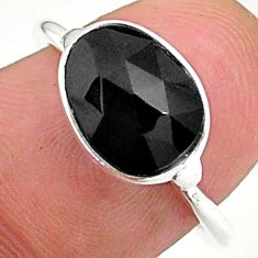 3.91cts solitaire natural black onyx 925 sterling silver ring size 7 t34713