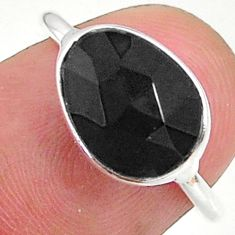 4.22cts solitaire natural black onyx 925 sterling silver ring size 7 t34756