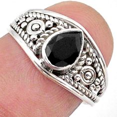 1.58cts solitaire natural black onyx 925 sterling silver ring size 7 t39966