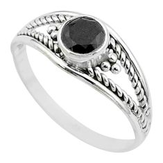 0.91cts solitaire natural black onyx 925 sterling silver ring size 7 t52000
