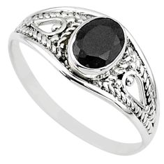 1.41cts natural black onyx 925 silver graduation handmade ring size 7 t9629
