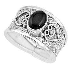 2.12cts solitaire natural black onyx 925 sterling silver ring size 8 t10518