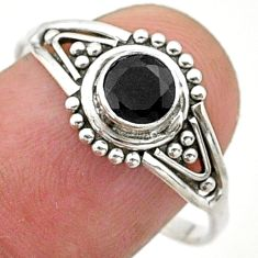 0.90cts solitaire natural black onyx 925 sterling silver ring size 9 t40127