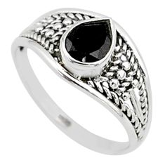 1.74cts natural black onyx 925 silver graduation handmade ring size 9 t9564