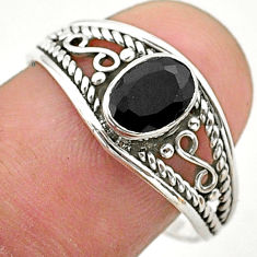 1.60cts solitaire natural black onyx 925 sterling silver ring size 8.5 t40146