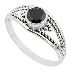 0.82cts solitaire natural black onyx 925 sterling silver ring size 8.5 t52033