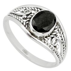 1.42cts natural black onyx 925 silver graduation handmade ring size 5.5 t9284
