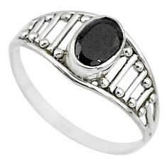 1.73cts natural black onyx 925 silver graduation handmade ring size 8.5 t9459