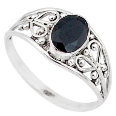 1.43cts natural black onyx 925 silver graduation handmade ring size 8.5 t9537