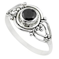 0.76cts natural black onyx 925 silver graduation handmade ring size 7.5 t9620