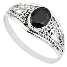 1.57cts natural black onyx oval silver graduation handmade ring size 9 t9631