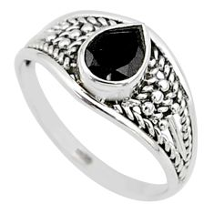 1.49cts natural black onyx pear silver graduation handmade ring size 8 t9600