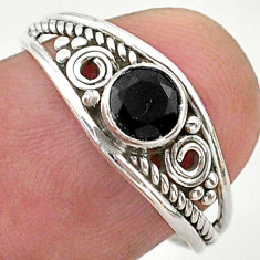 0.81cts solitaire natural black onyx round sterling silver ring size 7 t40104