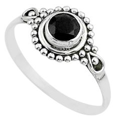 0.87cts solitaire natural black onyx round sterling silver ring size 9 t51960