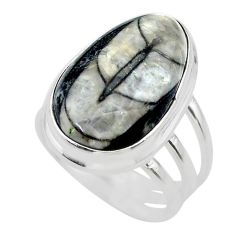 12.65cts solitaire natural black orthoceras 925 silver ring size 7 t28993