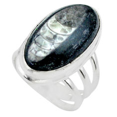 17.69cts solitaire natural black orthoceras oval 925 silver ring size 6 t29005