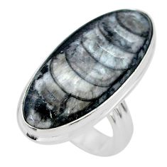 17.66cts solitaire natural black orthoceras oval 925 silver ring size 6 t29010