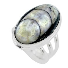 19.99cts solitaire natural black orthoceras oval 925 silver ring size 7 t28988