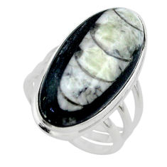 22.60cts solitaire natural black orthoceras oval 925 silver ring size 8 t29000