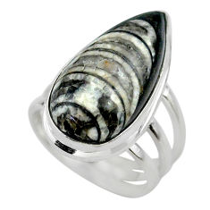 16.17cts solitaire natural black orthoceras pear 925 silver ring size 6 t28995