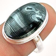10.32cts solitaire natural black psilomelane 925 silver ring size 8.5 t54437
