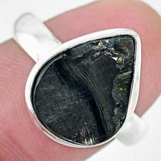 5.38cts solitaire natural black shungite 925 silver solitaire ring size 8 t22391