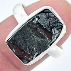 7.89cts solitaire natural black shungite 925 silver solitaire ring size 8 t22398