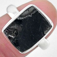 6.32cts solitaire natural black shungite 925 silver solitaire ring size 9 t22386