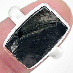 8.55cts solitaire natural black shungite 925 silver solitaire ring size 9 t22392