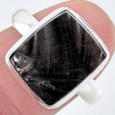 6.31cts solitaire natural black shungite 925 silver solitaire ring size 9 t22399