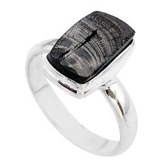 6.04cts solitaire natural black shungite 925 sterling silver ring size 10 t45845