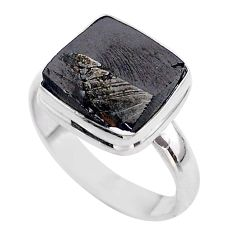 6.84cts solitaire natural black shungite 925 sterling silver ring size 10 t45858