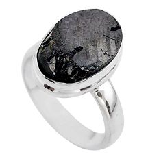 6.26cts solitaire natural black shungite 925 sterling silver ring size 6 t45859