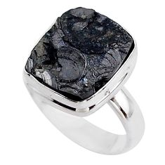7.33cts solitaire natural black shungite 925 sterling silver ring size 6 t45870