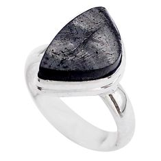 5.56cts solitaire natural black shungite 925 sterling silver ring size 6 t45880