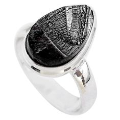 6.27cts solitaire natural black shungite 925 sterling silver ring size 6 t45891