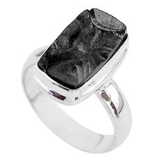 5.82cts solitaire natural black shungite 925 sterling silver ring size 6 t45899