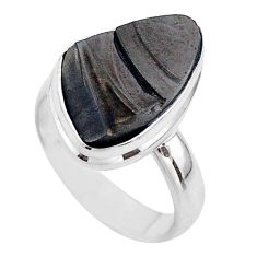 10.02cts solitaire natural black shungite 925 sterling silver ring size 7 t45853