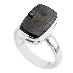 5.09cts solitaire natural black shungite 925 sterling silver ring size 7 t45865